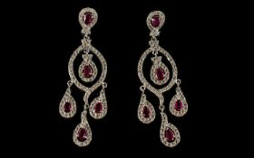 Faux Ruby and Diamond Chandelier Earring