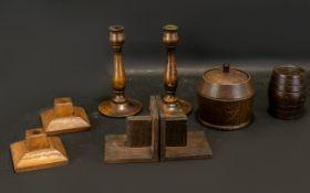 Arts & Crafts Golden Oak Candle Sticks.