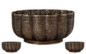 19thC Anglo Indian Bronzed Copper Bowl o