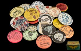 Antique Tin Containing Vintage Badges. L