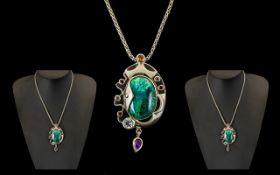 Designer Silver Hallmarked Pendant & Cha