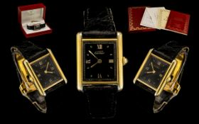 Cartier -Must-De Tank Vermeil - Gold on Silver Quartz Ladies Wrist Watch with Original Black Calf