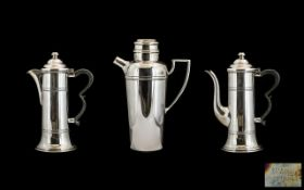 Three Pieces Of Silver Plate To Include A Mappin & Webb Cocktail Shaker, Of Typical Plain Form,
