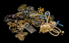 Mixed Bag of Costume Jewellery, Includes Brooches, Necklaces, Bracelets etc.