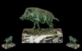 Cold Painted Bronze Wild Boar.