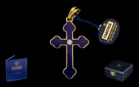 Faberge - Victor Mayer Ltd and Numbered 18ct Gold and Blue Enamel Cross Pendant Set with Diamonds