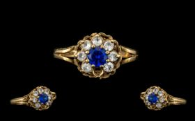 9ct Gold Diamond & Sapphire Cluster Set Dress Ring - Central Sapphire surrounded by 7 Diamonds (1