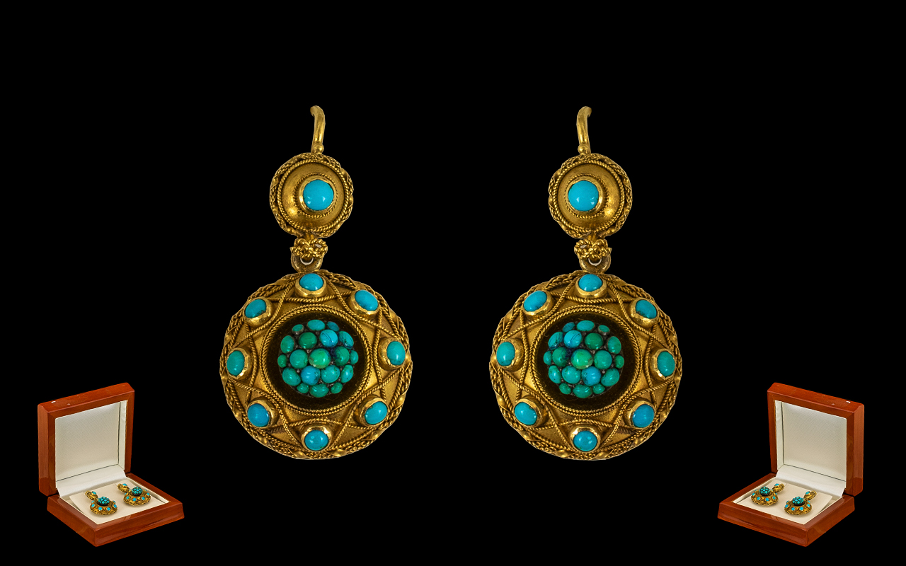 Lot 1 - Early to Mid Victorian 18 ct Gold-Turquoise Set Fine Quality Pair of Ladies Earrings - of