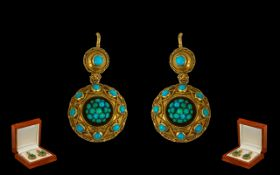 Early to Mid Victorian 18 ct Gold-Turquoise Set Fine Quality Pair of Ladies Earrings - of