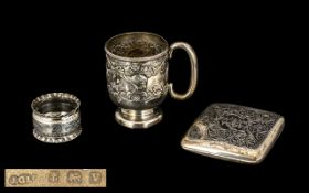 Edwardian Silver Christening Cup Embossed Cherub And Floral Decoration,