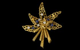 18ct Gold Modernist Designed and Signed Diamond and Sapphire Flower Bouquet Spray Brooch -