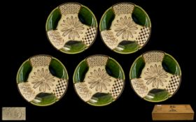Japanese Art Pottery Shaped Dishes - A Set of ( 5 ) Decorated In Green and Brown Enamels,