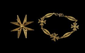 Continental Fancy Link Bracelet Together With A Matching Starburst Brooch.