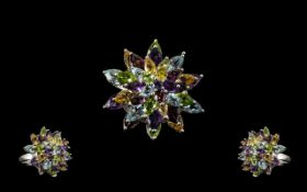 Amethyst, Peridot, Sky Blue Topaz, Citrine and Rhodolite Garnet Statement Ring,
