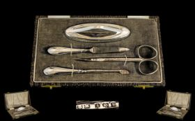 1930s Silver 4 Piece Manicure Set in Original Box. All pieces are in excellent condition.