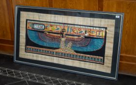 Large Egyptian Colourful Painting on Papyrus Paper,