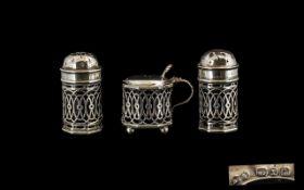 Silver Victorian Salt & Pepper & Mustard Pot.