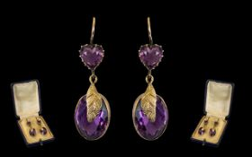 Victorian Period 9ct Gold Pair of Faceted Amethyst Stone Set Drop Earrings - with naturalistic leaf