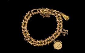 Antique Period - Attractive 9ct Gold Fancy Bracelet - loaded with 3 9ct Gold Charms.
