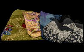 Four Designer Silk Scarves, all branded, comprising: A E Elegance of Paris,