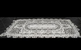 1930s Very Large Hand Stitched Embroidered Cotton Table Cloth decorated with floral motifs,