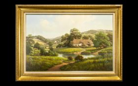 Oil Painting on Canvas in a gilt frame, signed Gary Miller.