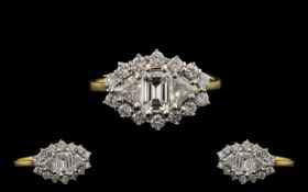 18ct Gold and Platinum Set Superb Quality and Stunning Diamond Set Dress Ring. The Central Step-