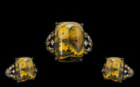 Silver Vermeil Bumble Bee Citrine/Jasper Gem Set Dress Ring.