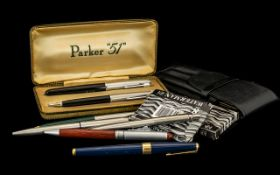 Collection of Pens to include vintage Parker '51' set of fountain pen and pencil in original box;