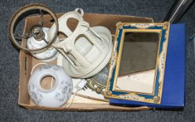 Box of Assorted Vintage Porcelain & Collectibles comprising a pink and white Adams English Scenic