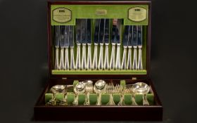 Viners Silver Plated Canteen Of Cutlery English Bead Design, 58 Piece Canteen For 8 People,