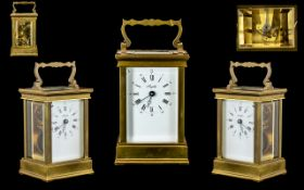 French Nice Quality 11 Jewell's 8 Day Brass Carriage Clock - features white porcelain dial visible