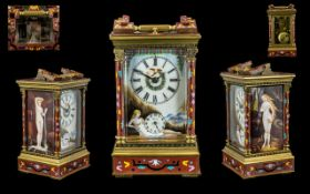 Mid 20th Century Enamelled / Cloisonne Brass Carriage Clock with Repeater and Alarm Facility,