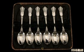 Art Deco Period Sterling Silver Set of Six Tea Spoons with fan designed tops in the true Art Deco