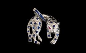 18 ct White Gold Exquisite and High Quality Sapphire and Diamond Set Figural Pendant in the form of