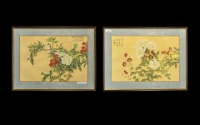 Pair Chinese Paintings on Silk depicting birds flowers fully signed with seal marks.