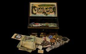 Tin of Coins Mixed Avia Watch Silver Metal Bracelet, 4 Bank Notes, Cufflinks.