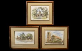 Three Original Watercolour Paintings - by local artist Steve Asbury from the early nineties.