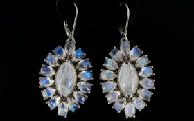 Moonstone Cluster Pair of Statement Earrings, 24cts of rainbow moonstone with adularescence,