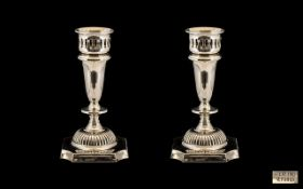 Contemporary Very Fine Pair of Sterling Silver Candlesticks with Excellent Design and Form - Please