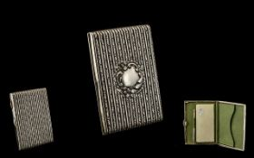 Edwardian Period Wonderful Quality Sterling Silver - Ladies Card Case with Fitted Interior and