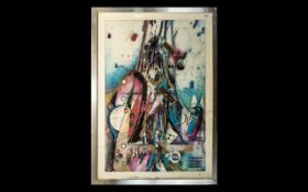 Richard Hall Large Modern Abstract Print highlighted in gold, untitled, framed in alloy frame.