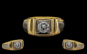 18ct Gold Gents Contemporary Single Stone Diamond Ring Set With A Round Modern Brilliant Cut