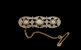 Ladies 9ct Two Tone Gold Attractive Opal and Diamond Set Brooch with Safety Chain.