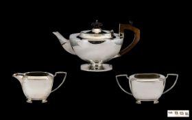 George VI Alladins Lamp Style 3 Piece Silver Tea Service, Comprises Teapot, Milk Jug & Sugar Bowl.