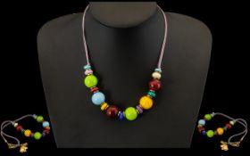 Murano Corte Murrina Bead Necklace, Coloured Glass Beads,