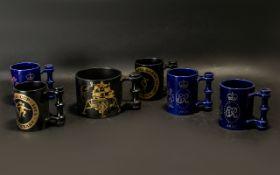 Portmerion Commemorative Mugs six in total,