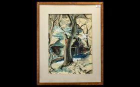 Terry McGlynn British Artist 1903 - 1973 Signed Watercolour 'House in a Forrest Setting' signed and