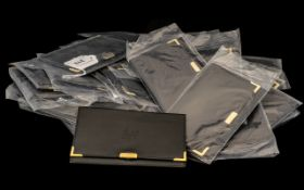 """Raymond Weil Geneve - 30 Black Leather Pouches for watch documents, as new. Size 5.25"""" x 3.25""""."""