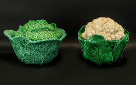 Two Vintage French Fiance Large Lidded Vegetable Dishes one cabbage shaped,